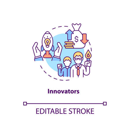 Innovators concept icon. Product adopters category idea thin line illustration. New technology and ideas adoption due to newness. Vector isolated outline RGB color drawing. Editable stroke