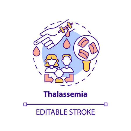 Thalassemia concept icon. Blood disorder. Inherited illness. Hereditary sickness. Genetic disease idea thin line illustration. Vector isolated outline RGB color drawing. Editable stroke