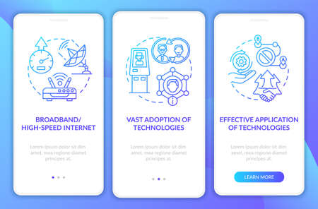 Successful digital inclusion navy onboarding mobile app page screen with concepts. Access walkthrough 3 steps graphic instructions. UI, UX, GUI vector template with linear color illustrations