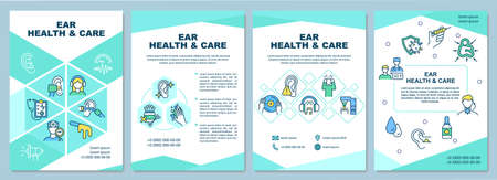 Ear health and care brochure template. Gently cleaning ears. Flyer, booklet, leaflet print, cover design with linear icons. Vector layouts for presentation, annual reports, advertisement pages Ilustración de vector