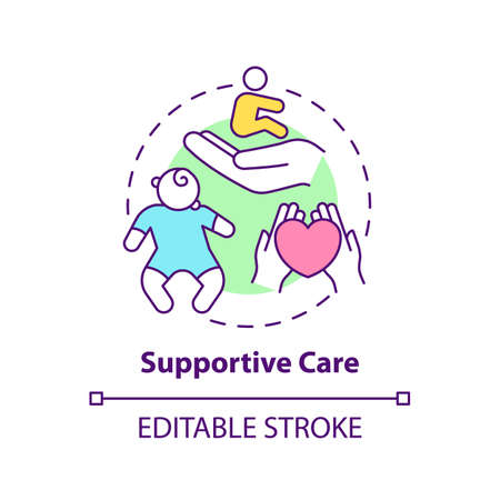Supportive care concept icon. Healthcare for children with special needs. Medical treatment. Genetic disease idea thin line illustration. Vector isolated outline RGB color drawing. Editable stroke