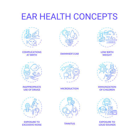 Ear health concept icons set. Hearing loss prevention idea thin line RGB color illustrations. Tinnitus. Children immunization. Microsuction. Exposure to loud sound. Vector isolated outline drawings