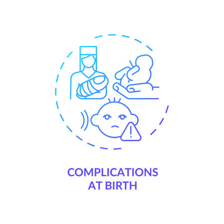 Complications at birth concept icon. Hearing loss cause idea thin line illustration. Infant babble absence. Maternal diabetes. Problems with auditory system. Vector isolated outline RGB color drawing