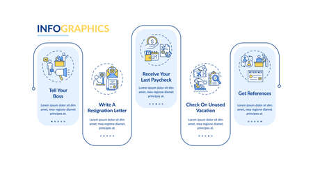 Job change checklist vector infographic template. How leave your job presentation design elements. Data visualization with 5 steps. Process timeline chart. Workflow layout with linear icons