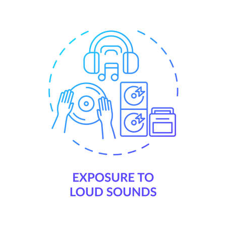 Exposure to loud sounds concept icon. Acquired hearing loss idea thin line illustration. Audio playing. Gunfire, fireworks. Noise-induced deafness. Vector isolated outline RGB color drawing