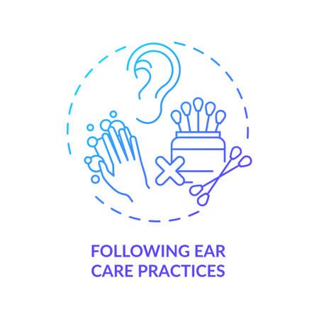 Following ear care practices concept icon. Hearing loss prevention idea thin line illustration. Irrigation with soap and warm water. Harm prevention. Vector isolated outline RGB color drawing