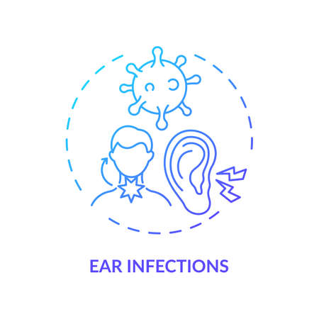 Ear infections concept icon. Acute otitis media idea thin line illustration. Painful conditions in earholes. Labyrinthitis symptoms. Ringing, dizziness. Vector isolated outline RGB color drawing