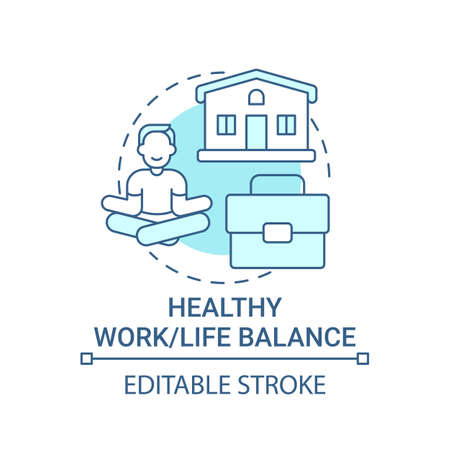 Healthy work-life balance concept icon. Personal value idea thin line illustration. Mental health in priority. Avoiding workplace burnout. Vector isolated outline RGB color drawing. Editable stroke