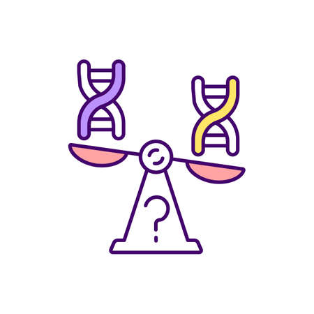 Genetic imbalance RGB color icon. Determination of inherited disorder. Hereditary health issues. Diagnosis for DNA. Chromosomal mutation. Medical research and analysis. Isolated vector illustration 矢量图片
