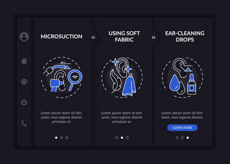 Routine ear procedures onboarding vector template. Responsive mobile website with icons. Web page walkthrough 3 step screens. Irrigation with warm water night mode concept with linear illustrations