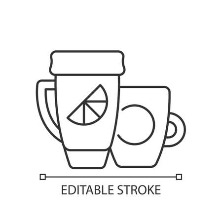 Branded cup and thermal cup linear icon. Unique stylish conteiner for drinking hot liquids. Thin line customizable illustration. Contour symbol. Vector isolated outline drawing. Editable stroke