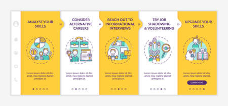 Career change steps onboarding mobile app page screen with concepts. Improve yourself walkthrough 5 steps graphic instructions. UI, UX, GUI vector template with linear day mode illustrations