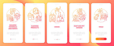Household air pollutants onboarding mobile app page screen with concepts. Cleaning products, smoke walkthrough 5 steps graphic instructions. UI, UX, GUI vector template with linear color illustrations