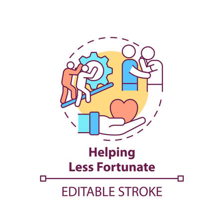 Helping less fortunate concept icon. Corporate value idea thin line illustration. Promoting respect, compassion. Showing empathy to others. Vector isolated outline RGB color drawing. Editable stroke Vecteurs
