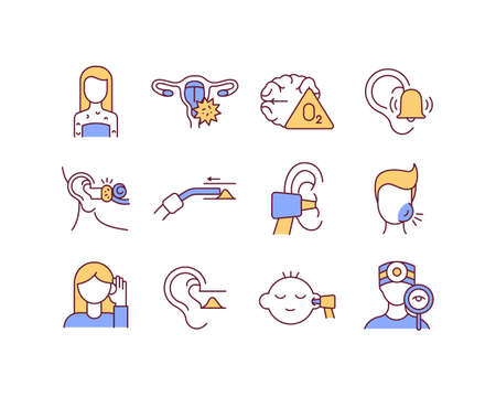 Ear diseases RGB color icons set. Health checkups. Skin rashes. Hearing impairment. Earwax blockage. Brain hypoxia. Ringing in ears. Cervix inflammation. Fluid buildup. Isolated vector illustrations