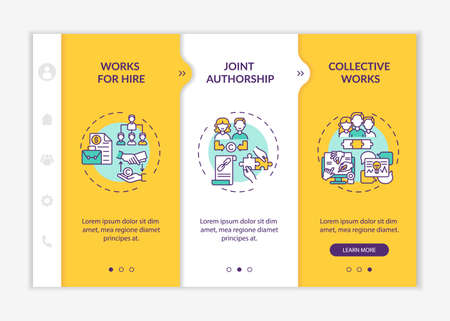 Copyright law special principles onboarding vector template. Responsive mobile website with icons. Web page walkthrough 3 step screens. Collaboration, hiring color concept with linear illustrations
