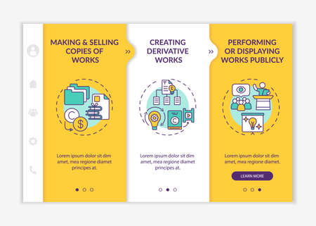 Distinctive author rights onboarding vector template. Responsive mobile website with icons. Web page walkthrough 3 step screens. Performing works publicly color concept with linear illustrations