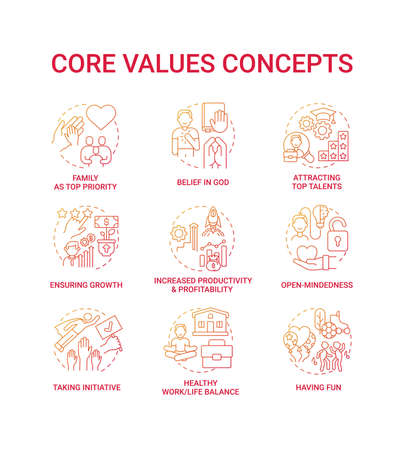 Core values concept icons set. Open-mindedness idea thin line RGB color illustrations. Increased profitability, productivity. Taking initiative. Work life balance. Vector isolated outline drawings Ilustracje wektorowe