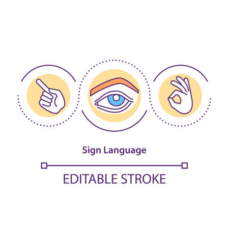 Sign language concept icon. Hands and face movements expression idea thin line illustration. Specific handshapes. Visual-manual modality. Vector isolated outline RGB color drawing. Editable stroke