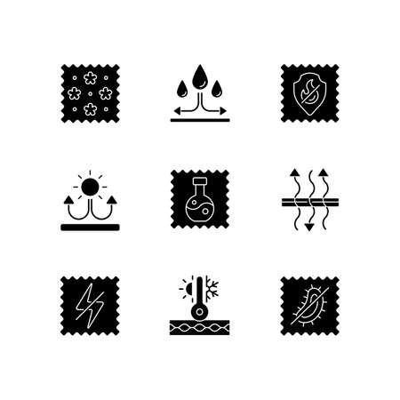 Fabric properties black glyph icons set on white space. Water repellent. Breathable, antistatic, antimicrobial textile. Thermal insulated fiber. Silhouette symbols. Vector isolated illustration