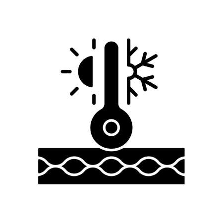 Thermal insulated fabric feature black glyph icon. Fiber property for extreme conditions. Fiber ability to notice warmth. Silhouette symbol on white space. Vector isolated illustration
