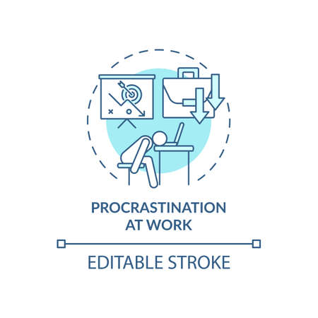 Procrastination at work blue concept icon. Burnout symptom. Overworked manager at workplace. Self control issue idea thin line illustration. Vector isolated outline RGB color drawing. Editable stroke