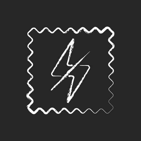 Antistatic fabric feature chalk white icon on black background. Fiber property to repel electric charge. Special material quality. Textile industry. Isolated vector chalkboard illustration