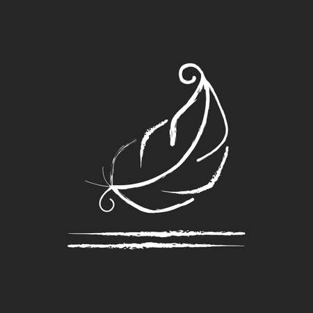 Lightweight fabric property chalk white icon on black background. Feather symbol for pillows and blankets. Special soft material property. Isolated vector chalkboard illustration