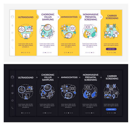Genetic diseases diagnostics onboarding vector template. Responsive mobile website with icons. Web page walkthrough 5 step screens. Illness dark, light mode concept with linear illustrations Vektorgrafik