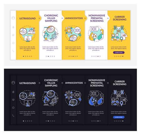 Genetic diseases diagnostics onboarding vector template. Responsive mobile website with icons. Web page walkthrough 5 step screens. Illness dark, light mode concept with linear illustrations Vektoros illusztráció