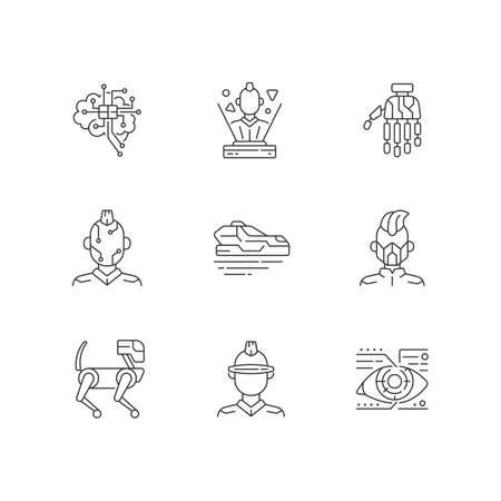 Cyberpunk attributes linear icons set. Bionic limb. Science fiction. Futuristic technology. Customizable thin line contour symbols. Isolated vector outline illustrations. Editable stroke Ilustración de vector