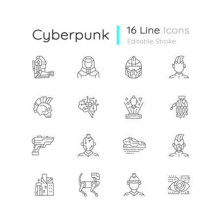Cyberpunk linear icons set. Science fiction. Futuristic technology. Body augmentation. Customizable thin line contour symbols. Isolated vector outline illustrations. Editable stroke