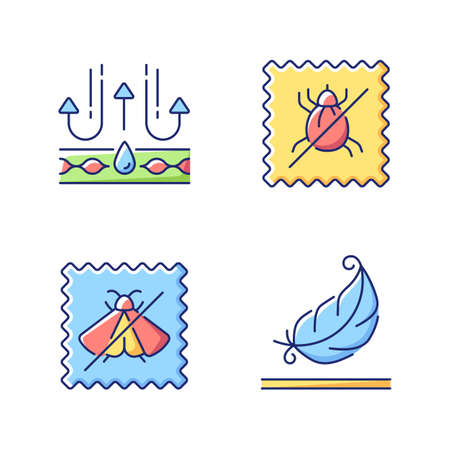 Fabric quality characteristics vector flat color icon set. Moth protection and light textile. Dust mite proof textile. Cartoon style clip art for mobile app pack. Isolated RGB illustration bundle