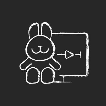Cartoons streaming chalk white icon on black background. Family-friendly shows. Entertainment content for toddlers. Animated films. Genre for all ages. Isolated vector chalkboard illustration