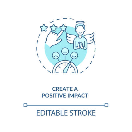 Create positive impact blue concept icon. Digital footprint. Personal brand strategy. Customer satisfaction idea thin line illustration. Vector isolated outline RGB color drawing. Editable stroke Vetores