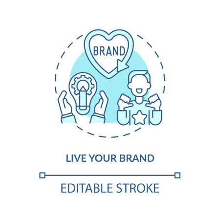 Live your brand blue concept icon. Developing authentic business. Self improvement. Defining core values idea thin line illustration. Vector isolated outline RGB color drawing. Editable stroke