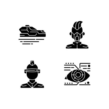 Sci fi and cyberpunk black glyph icons set on white space. Flying car. Mask, glasses. Lens microcircuit. Cyberpunk movie, game. Futuristic technology. Silhouette symbols. Vector isolated illustration
