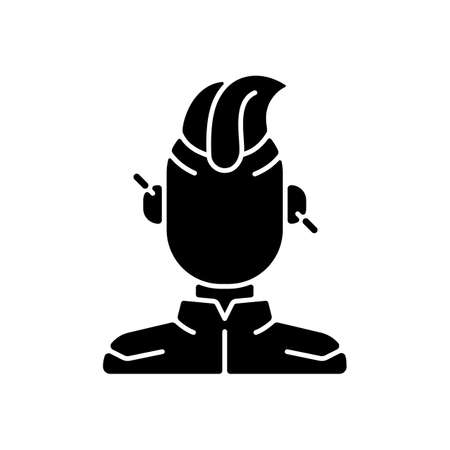 Cyberpunk person black glyph icon. Punk subculture, goth teenager. Cyberpunk movie, game. Futuristic fashion. Body augmentation. Silhouette symbol on white space. Vector isolated illustration