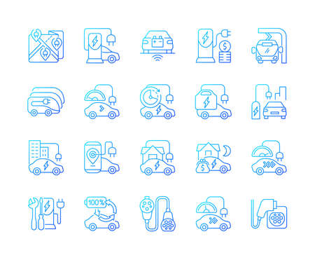 Electric vehicle charging gradient linear vector icons set. Portable charging station for elctromobile. Eco cars. Thin line contour symbols bundle. Isolated vector outline illustrations collection