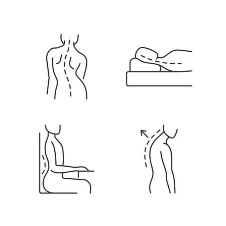 Poor posture problems linear icons set. Scoliosis. Sleeping with head elevated. Sideways curve. Customizable thin line contour symbols. Isolated vector outline illustrations. Editable stroke