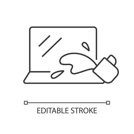 Water damage linear icon. Drink spilled on keyboard. Office accident with electronics. Thin line customizable illustration. Contour symbol. Vector isolated outline drawing. Editable stroke