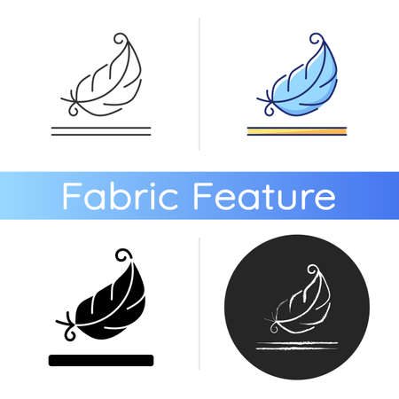 Lightweight fabric property icon. Feather symbol for pillows and blankets. Special soft material property. Textile industry. Linear black and RGB color styles. Isolated vector illustrations