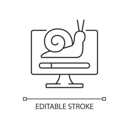Slow computer linear icon. Waiting for loading. Connect to network, issue with internet traffic. Thin line customizable illustration. Contour symbol. Vector isolated outline drawing. Editable stroke
