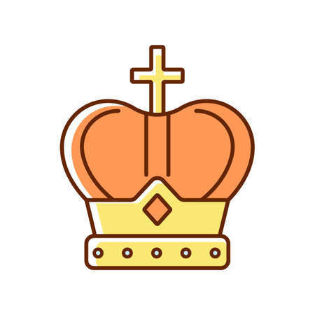 Royal crown RGB color icon. Head adornment for monarchs. Royal family jewels. Coronation ceremony. King, queen accessory. Power and dignity symbol. Reigning monarch. Isolated vector illustration