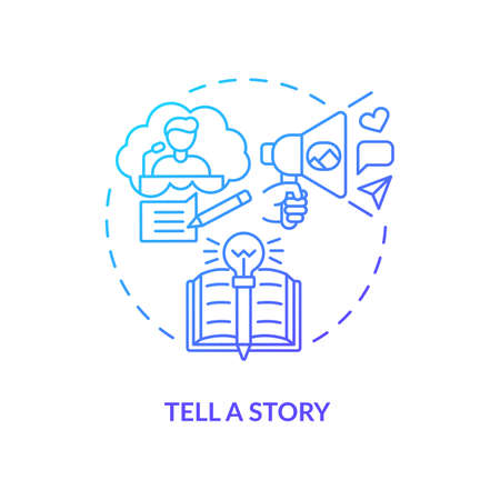 Tell story navy, blue gradient concept icon. Define your principles. Brand storytelling. Engaging target audience idea thin line illustration. Vector isolated outline RGB color drawing