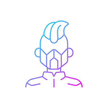 Mask gradient linear vector icon. Cyborg man. Person from dystopian future. Cyberpunk movie, sci fi game. Thin line color symbols. Modern style pictogram. Vector isolated outline drawing