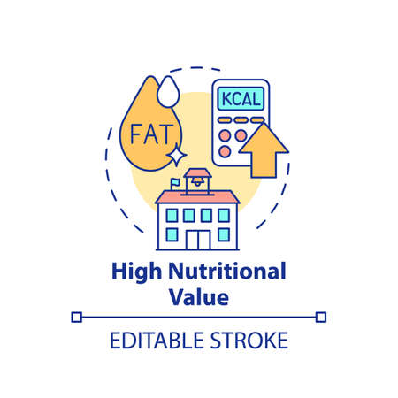 High nutritional value concept icon. School healthy eating plan. Special meal planning full of nutritions idea thin line illustration. Vector isolated outline RGB color drawing. Editable stroke