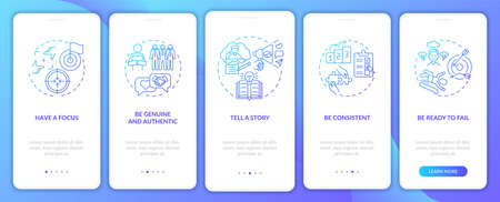Personal branding rules blue onboarding mobile app page screen with concepts. Media marketing walkthrough 5 steps graphic instructions. UI, UX, GUI vector template with linear color illustrations