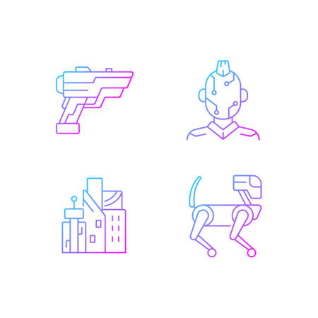Cyberpunk items gradient linear vector icons set. Laser gun. Face microcircuit. Cyberpunk city. Future technology. Thin line contour symbols bundle. Isolated vector outline illustrations collection Ilustracje wektorowe