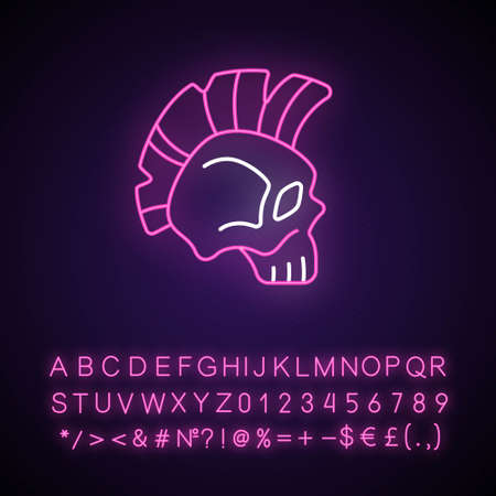 Skull with mohawk hairstyle neon light icon. Hard rock, death metal music emblem. Bone head. Outer glowing effect. Sign with alphabet, numbers and symbols. Vector isolated RGB color illustration
